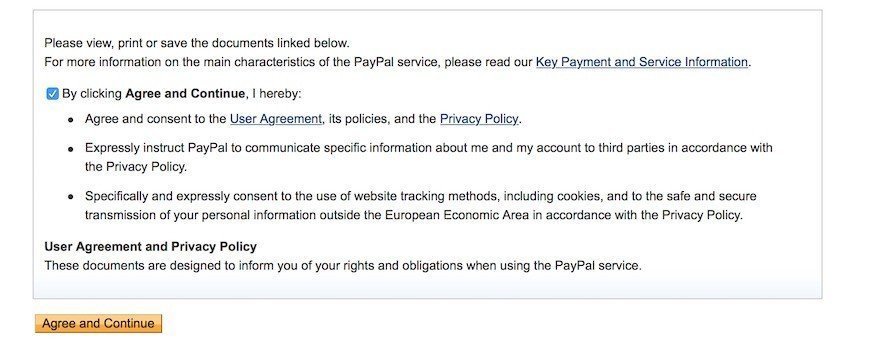 paypal consent on user agreement and privacy policy