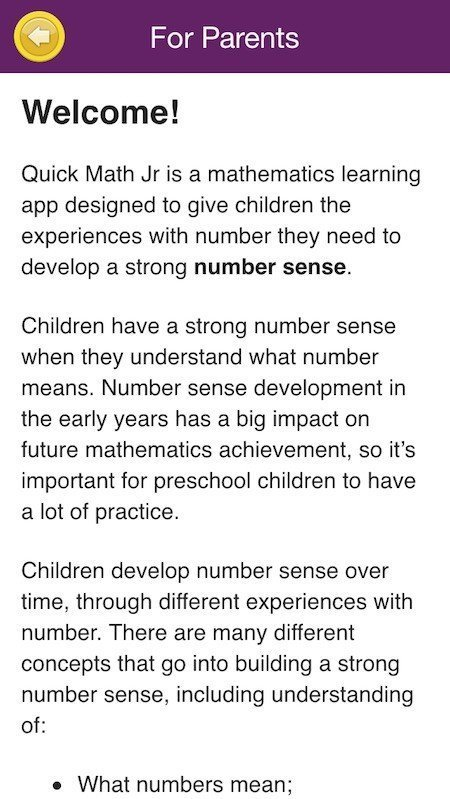 Parents-Only Screen in Quick Maths Jr Game