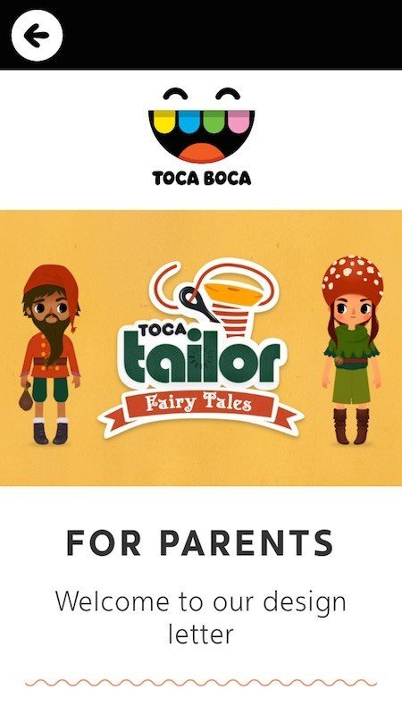 Parents-Only Screen In Fairy Tales Game