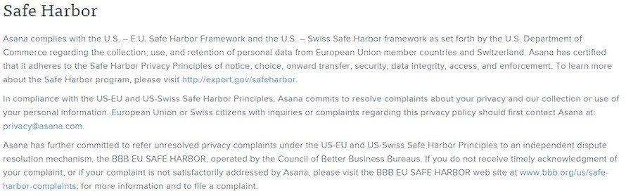Safe Harbor In Asana Privacy Policy