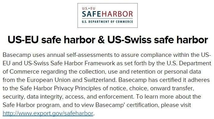 Safe Harbor in Basecamp Privacy Policy