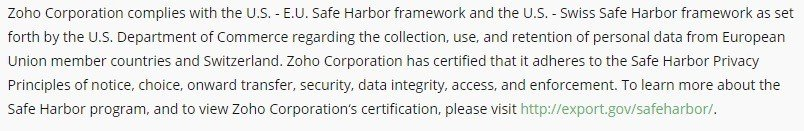 Zoho Safe Harbor Section In Privacy Policy