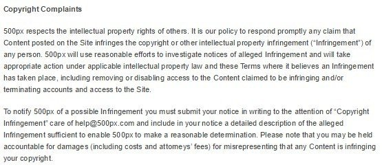 500px Copyright Complaints