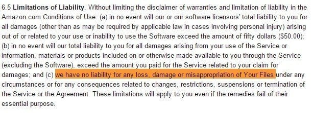 Clause on liability in Amazon Cloud Drive Terms of Use