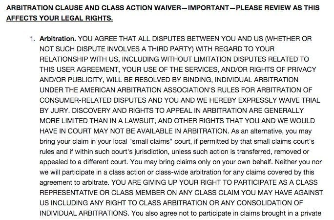 BuzzFeed Arbitration Clause in User Agreement