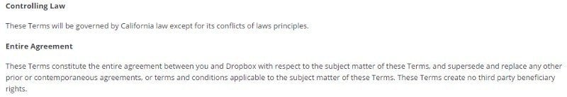 Governing Law clause in Dropbox Terms of Service