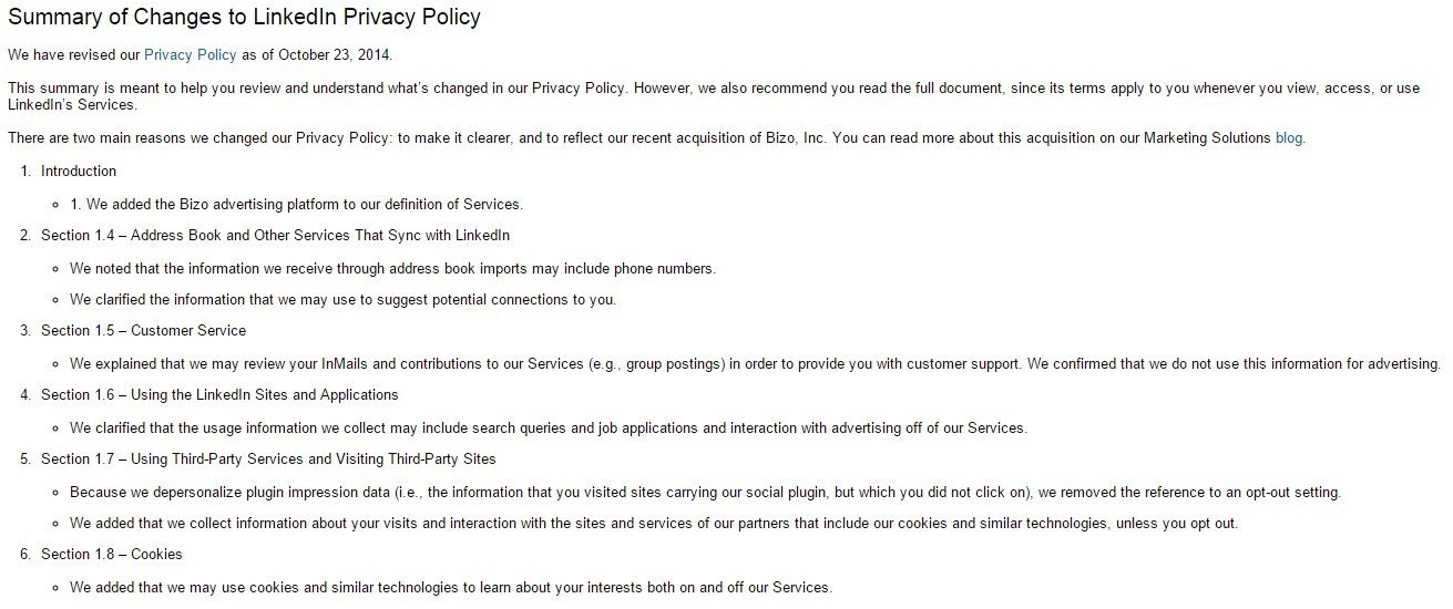 LinkedIn Privacy Policy Summary Page