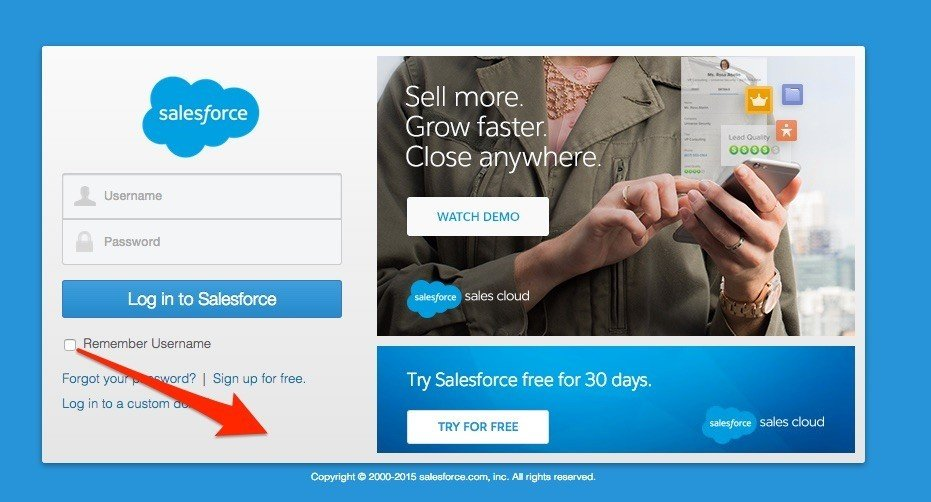 SalesForce Login with Remember Me