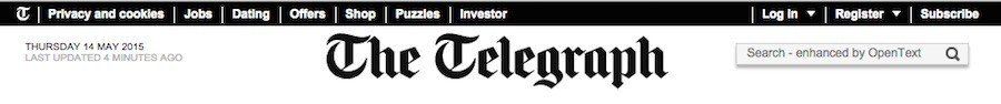 Privacy and Cookies Links in Header at Telegraph
