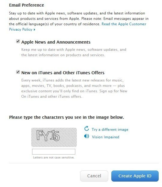 Apple: Email Preference Form