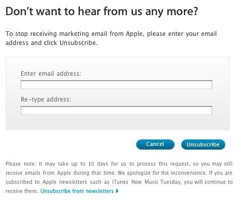 Apple: Confirm email to opt-out from emails