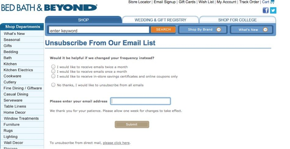 Bed Bath and Beyond: Unsubscribe from Emails