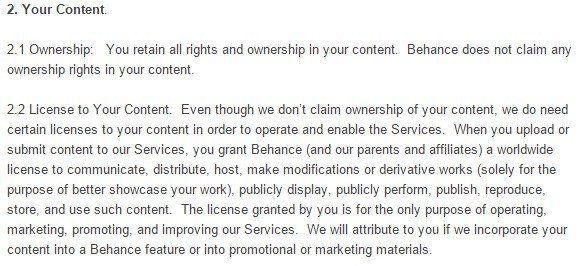 Behance Terms of Service: Your Content Clause