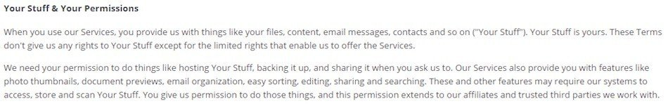 Dropbox: Your Stuff & Your Permissions Clause