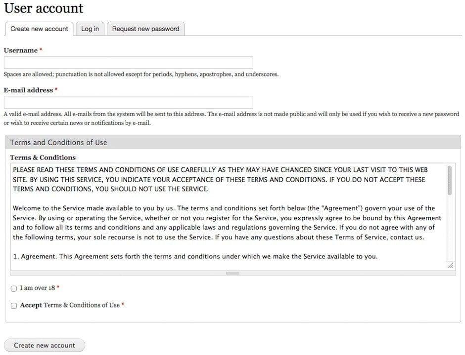 Drupal - Create An Account Form