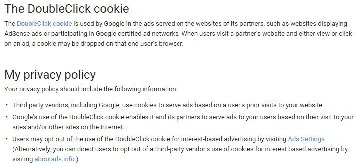 Google DoubleClick Cookie In Privacy Policy