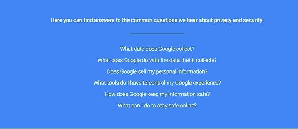 Google: FAQ Section on Privacy and Security
