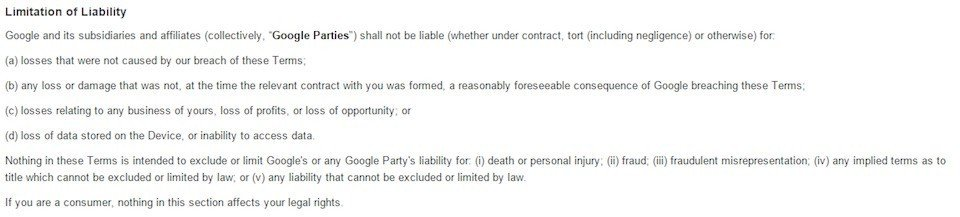 Google NZ Store Limitation of Liability Clause