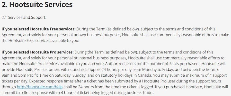 Screenshot of Hootsuite Terms and Conditions