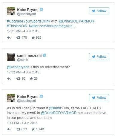 Tweet Marked as Ad by Kobe