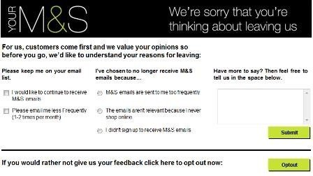 Mark and Spencer Opt-out from Emails