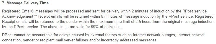 RPost Message Delivery Time in SLA