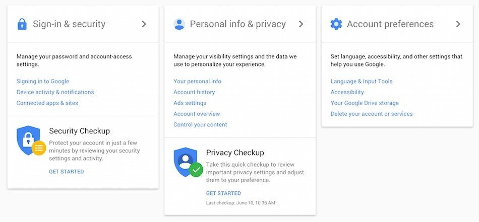Overview of Google's Dashboard