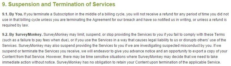 SurveyMonkey Terms of Use: Suspension and Termination