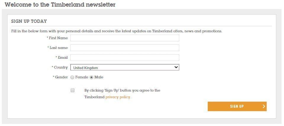 Timberland UK: Sign-up for Newsletter Form