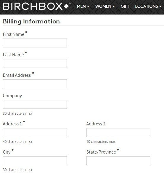 BirchBox Account Sign-up Page