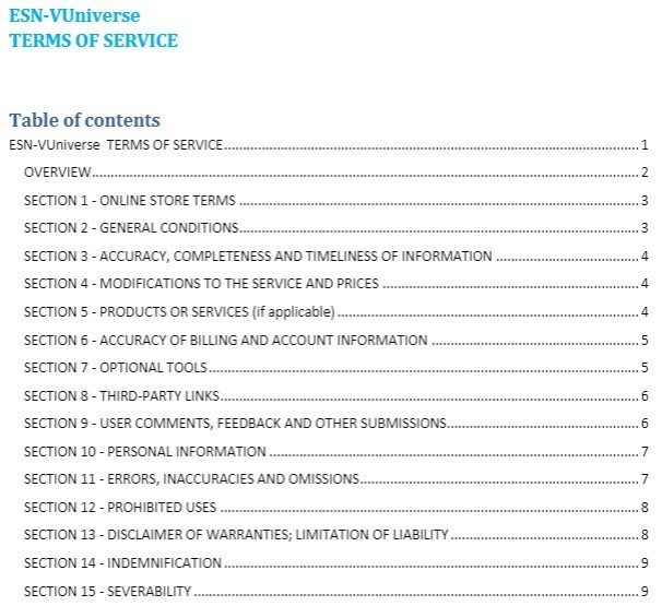 ESN-VUniverse: Terms of Service Chapters