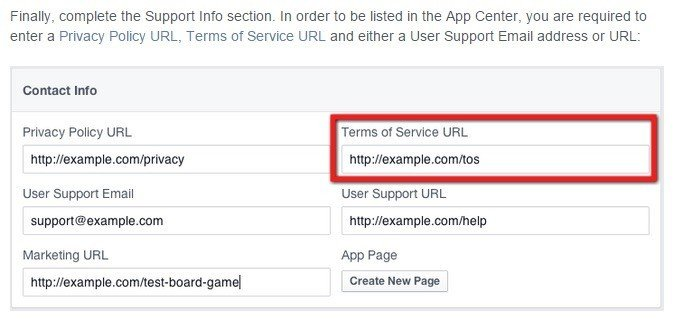 Facebook Contact Info: Highlight Terms of Service URL