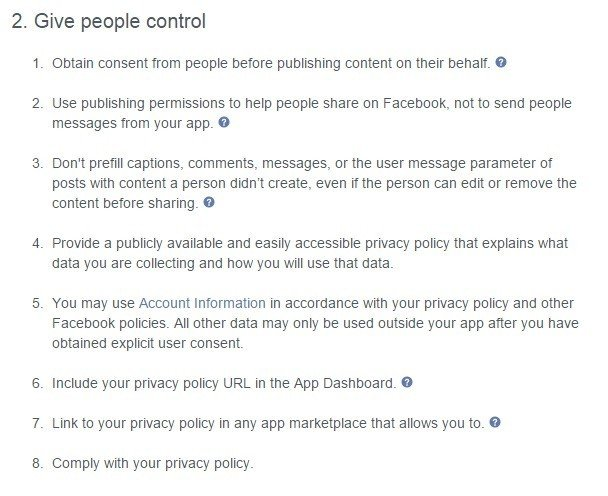 Facebook Platform Policy: Give People Control