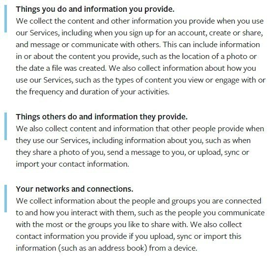 Clauses from Facebook Privacy Policy