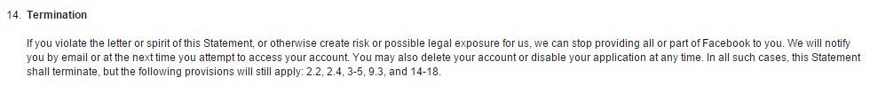 Facebook Terms of Service: Termination Clause