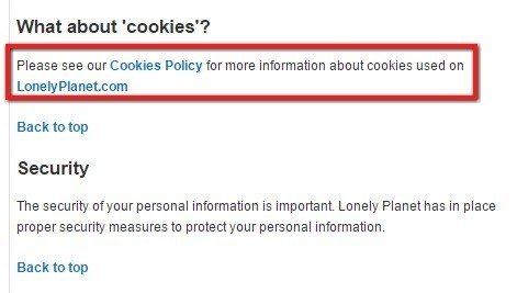 Lonely Planet: Cookies Policy Reference