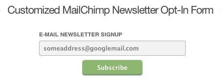 Example of MailChimp Subscribe Email Form