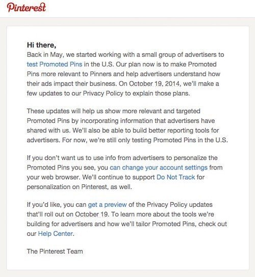 Pinterest Privacy Policy Updates via Email