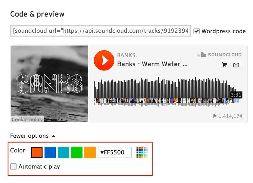 SoundCloud: Customize Embeddable Plugin