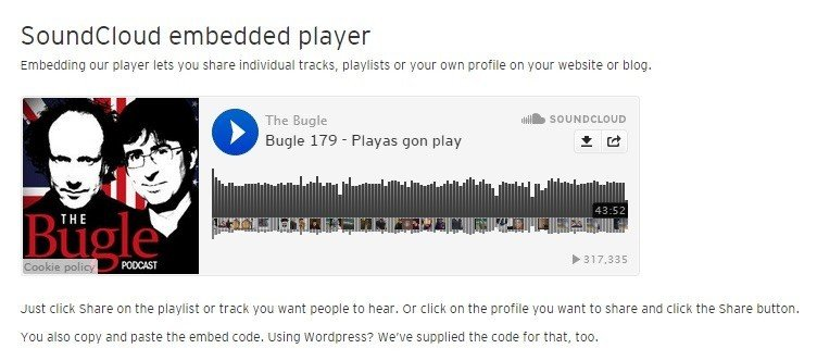 Example of SoundCloud Embeddable Plugin