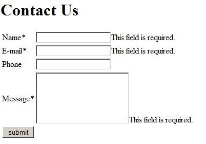 Generic Contact Us Form With Phone Field