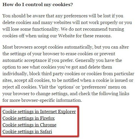 The Independent: Cookies Settings Section