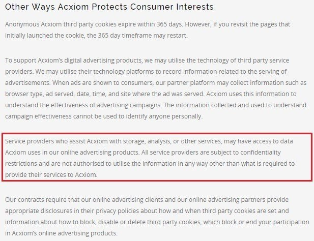 Cloud Storage Clause from Acxiom Privacy Policy