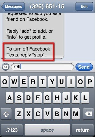 Facebook: Reply Stop to Text Message