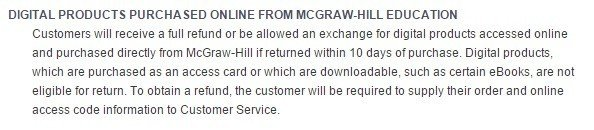 Screenshot of Return Policy of McGraw Hill Education