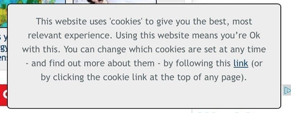Mirror UK: Notification on website cookies