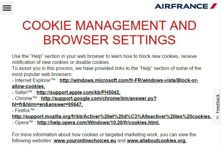 AirFrance: Cookie Management Section from Privacy Policy