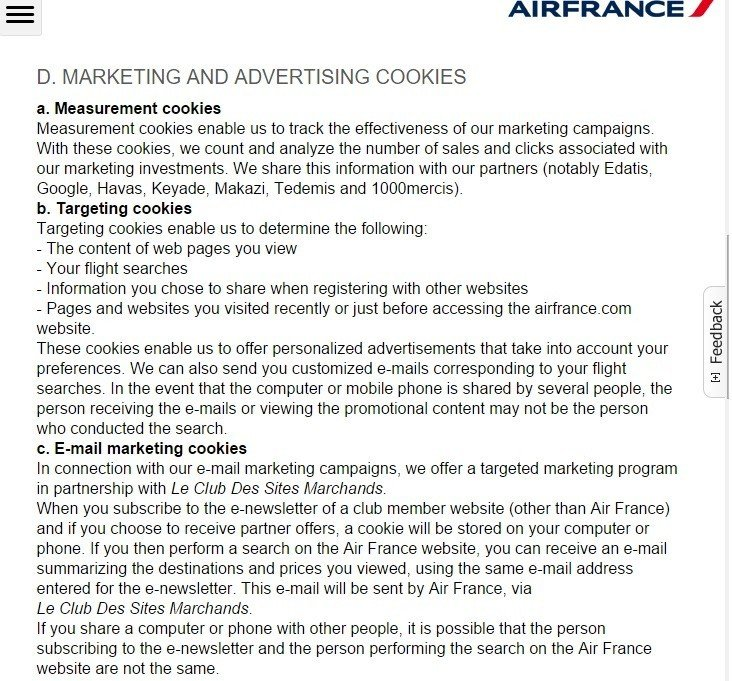 Screenshot of Privacy Policy from AirFrance on Marketing, Advertising Cookies