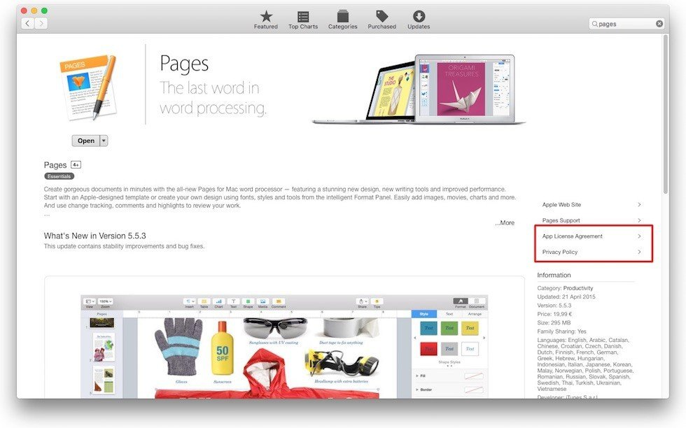 Highlight Legal Links from Apple Pages on App Store OS X