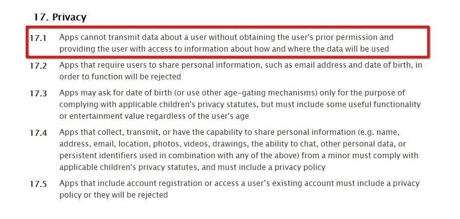 Apple App Store Review Guidelines Section 17 On Privacy